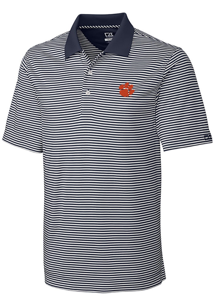 Cutter and Buck Clemson Tigers Mens Grey Trevor Stripe Short Sleeve Polo - Image 1