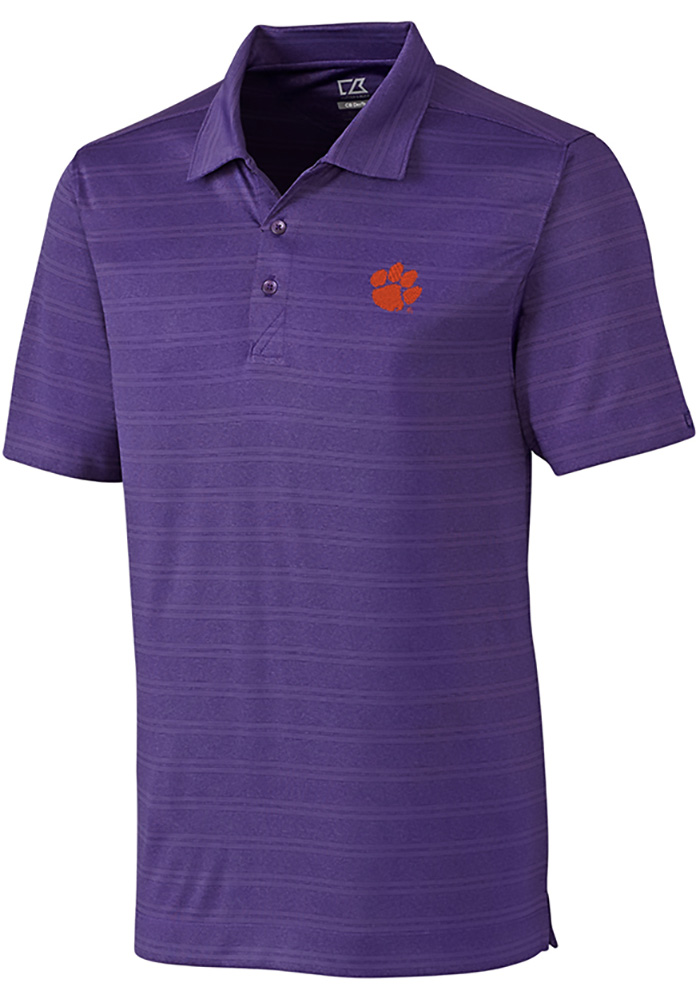 Cutter and Buck Clemson Tigers Mens Purple Interbay Melange Short Sleeve Polo - Image 1