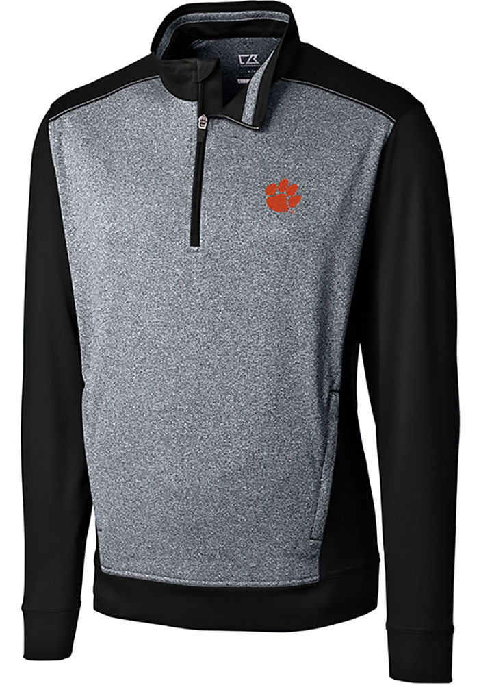 Cutter and Buck Clemson Tigers Mens Black Replay Long Sleeve 1/4 Zip Pullover - Image 1