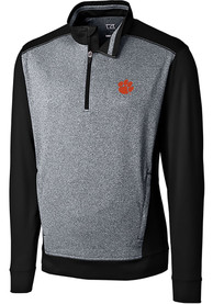 Clemson Tigers Cutter and Buck Replay 1/4 Zip Pullover - Black