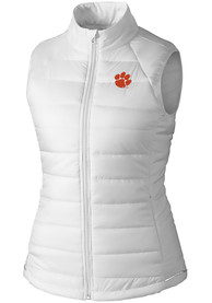 Clemson Tigers Womens Cutter and Buck Post Alley Vest - White