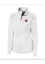 Cutter and Buck Cleveland Browns Womens White Jackson 1/4 Zip Pullover