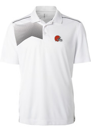 Cutter and Buck Cleveland Browns Mens White Glen Acres Short Sleeve Polo
