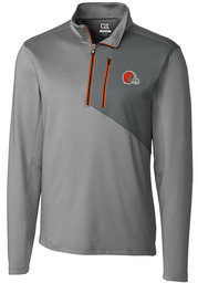 Cutter and Buck Cleveland Browns Mens Orange Shaw Hybrid Long Sleeve 1/4 Zip Pullover