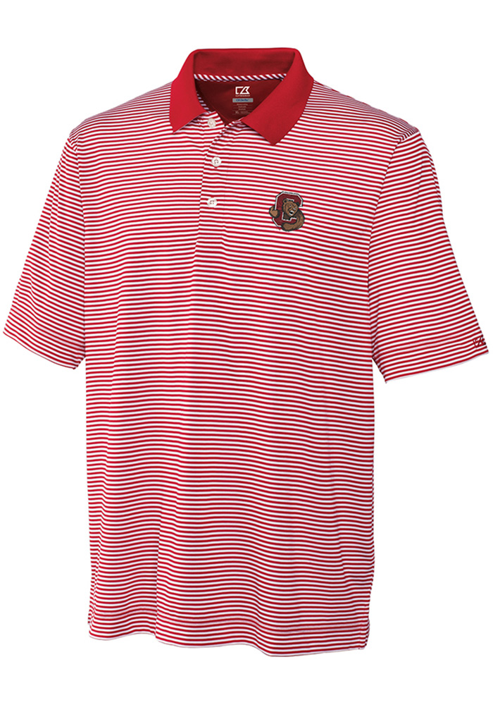 Cutter and Buck Cornell Big Red Mens Red Trevor Stripe Short Sleeve Polo - Image 1