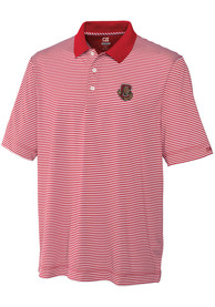 Cornell Big Red Cutter and Buck Trevor Stripe Polo Shirt - Red