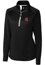 Cornell Big Red Womens Cutter and Buck Jackson 1/4 Zip Pullover - Black