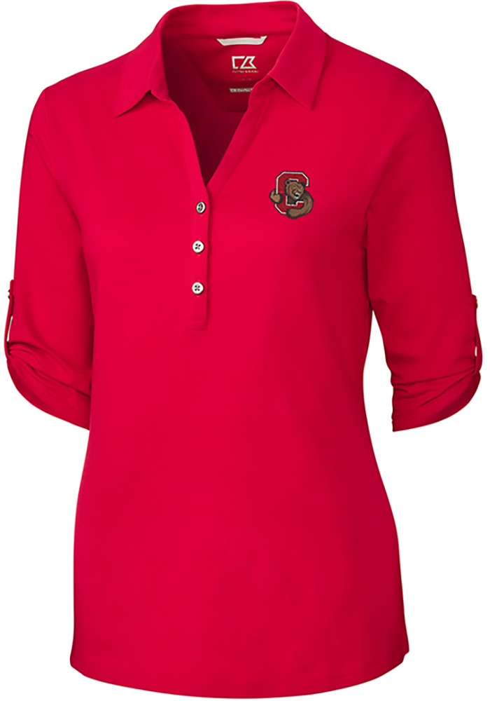 Cutter and Buck Cornell Big Red Womens Thrive Long Sleeve Red Dress Shirt - Image 1