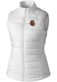 Cornell Big Red Womens Cutter and Buck Post Alley Vest - White