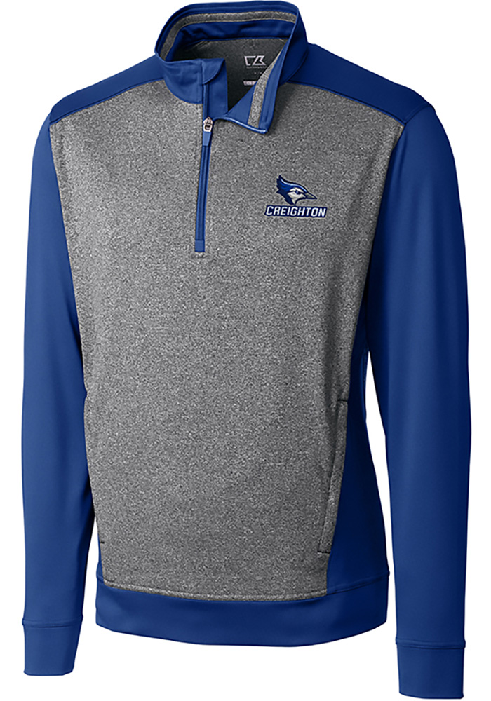 Cutter and Buck Creighton Bluejays Mens Blue Replay Long Sleeve 1/4 Zip Pullover - Image 1