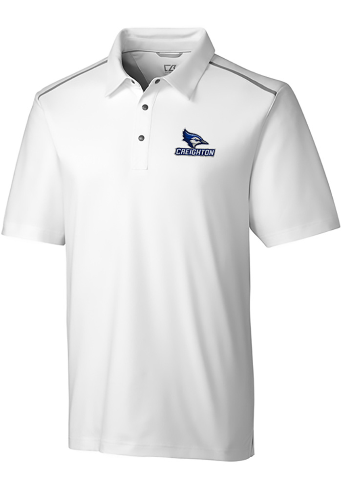 Cutter and Buck Creighton Bluejays Mens White Fusion Short Sleeve Polo - Image 1