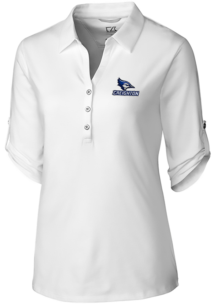Cutter and Buck Creighton Bluejays Womens Thrive Long Sleeve White Dress Shirt - Image 1