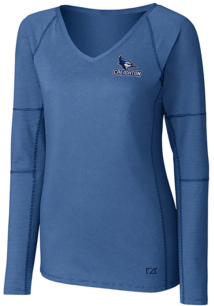 Cutter and Buck Creighton Bluejays Womens Blue Victory LS Tee - Image 1