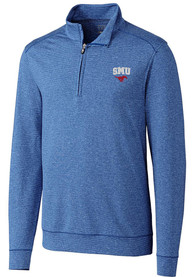 SMU Mustangs Cutter and Buck Shoreline 1/4 Zip Pullover - Blue