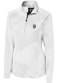 Detroit Tigers Womens Cutter and Buck Jackson 1/4 Zip Pullover - White