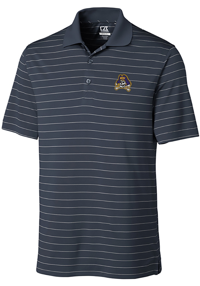 Cutter and Buck East Carolina Pirates Mens Grey Franklin Stripe Short Sleeve Polo - Image 1