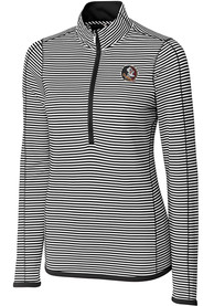 Florida State Seminoles Womens Cutter and Buck Trevor Stripe Full Zip Jacket - Black
