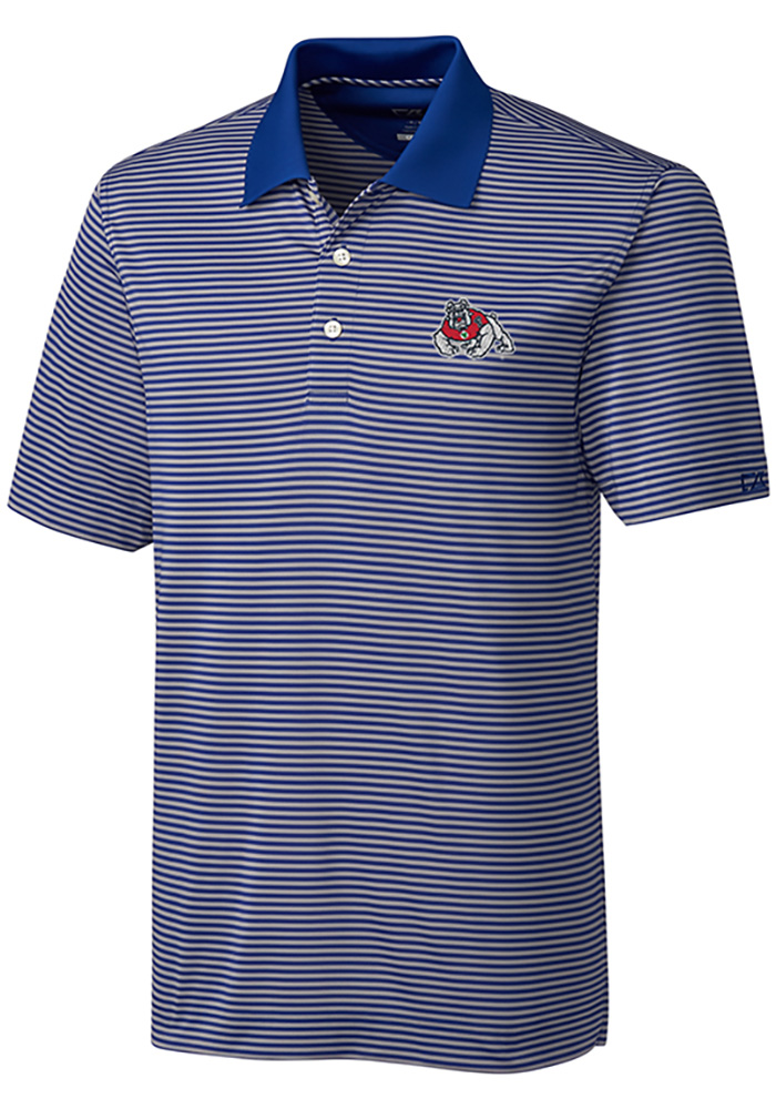 Cutter and Buck Fresno State Bulldogs Mens Blue Trevor Stripe Short Sleeve Polo - Image 1