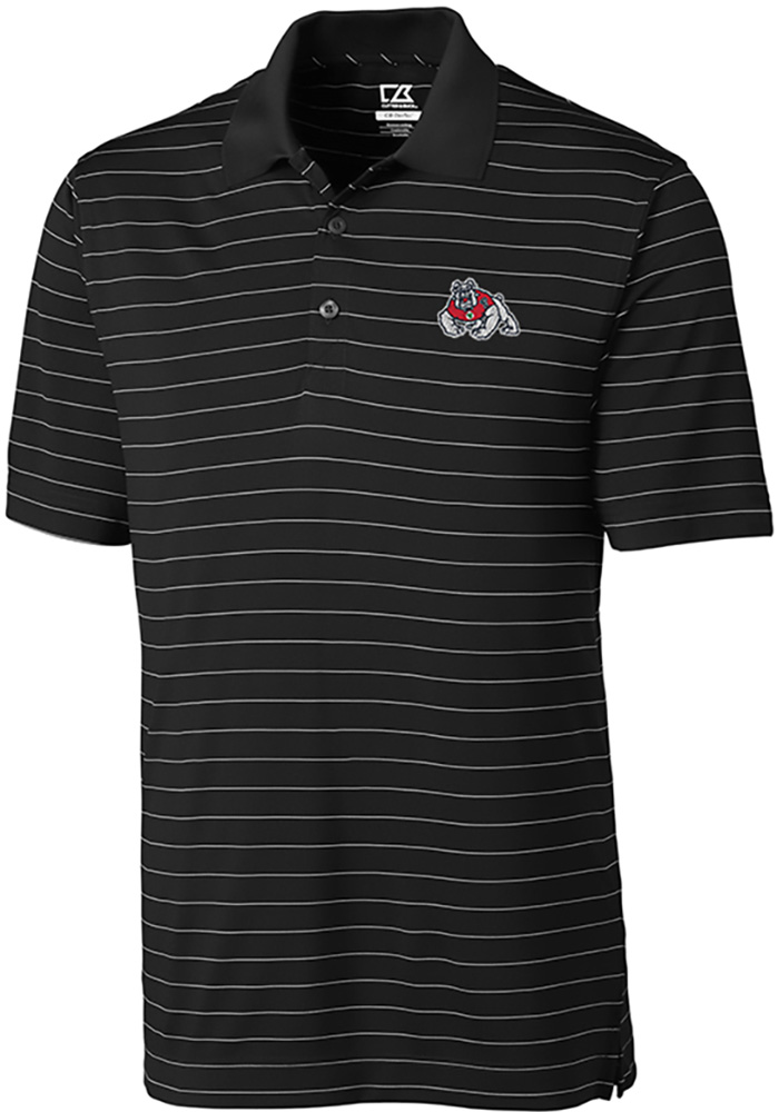 Cutter and Buck Fresno State Bulldogs Mens Black Franklin Stripe Short Sleeve Polo - Image 1