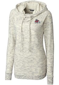 Fresno State Bulldogs Womens Cutter and Buck Tie Breaker Hooded Sweatshirt - White