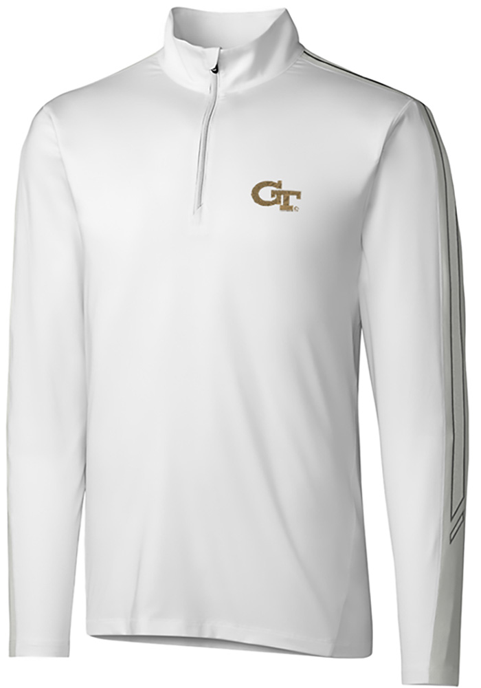 Cutter and Buck GA Tech Yellow Jackets Mens White Pennant Sport Long Sleeve 1/4 Zip Pullover - Image 1