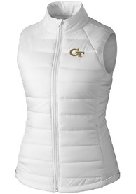 GA Tech Yellow Jackets Womens Cutter and Buck Post Alley Vest - White