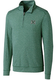 Hawaii Warriors Cutter and Buck Shoreline 1/4 Zip Pullover - Green