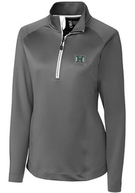 Hawaii Warriors Womens Cutter and Buck Jackson 1/4 Zip Pullover - Grey
