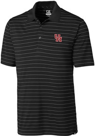 Houston Cougars Cutter and Buck Franklin Stripe Polo Shirt - Black