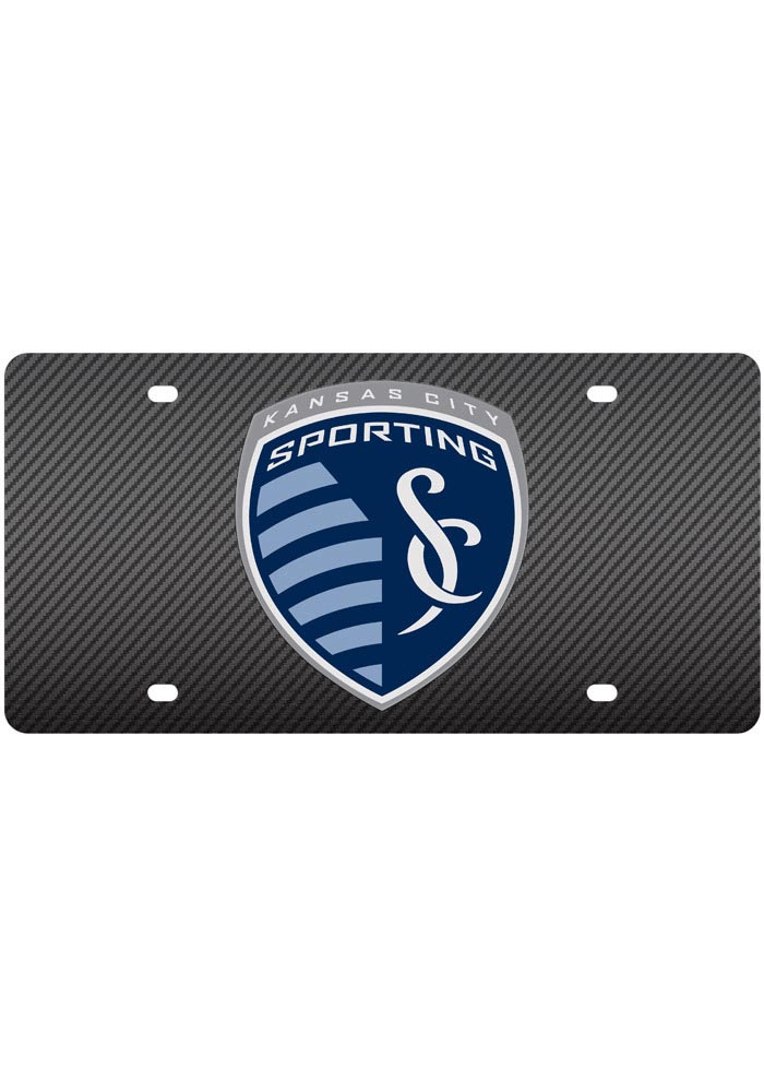 Sporting Kansas City Team Logo Carbon Fiber Car Accessory License Plate