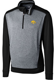 Iowa Hawkeyes Cutter and Buck Replay 1/4 Zip Pullover - Black