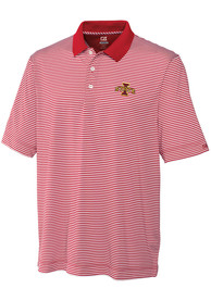 Iowa State Cyclones Cutter and Buck Trevor Stripe Polo Shirt - Red