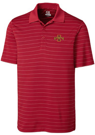 Iowa State Cyclones Cutter and Buck Franklin Stripe Polo Shirt - Red