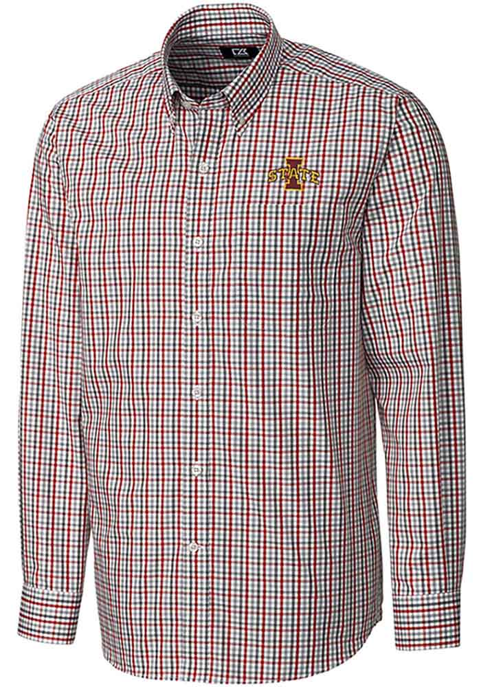 Cutter and Buck Iowa State Cyclones Mens Cardinal Gilman Long Sleeve Dress Shirt - Image 1