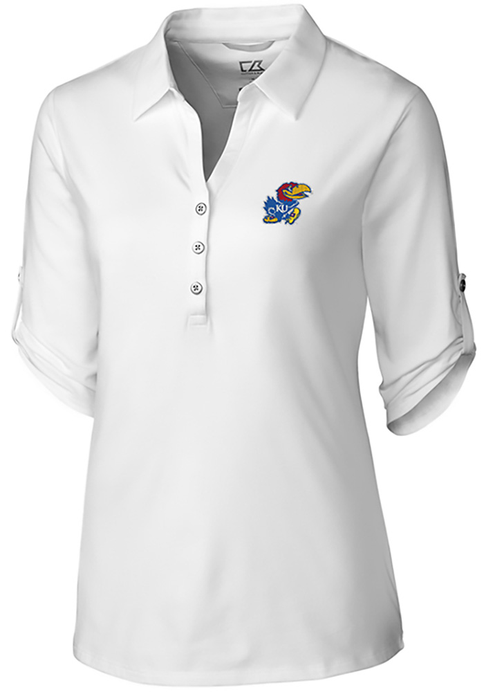 Cutter and Buck Kansas Jayhawks Womens Thrive Long Sleeve White Dress Shirt - Image 1