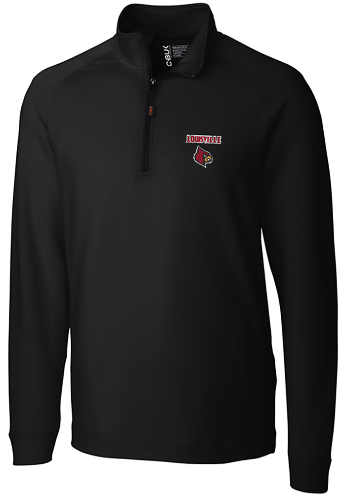 Cutter and Buck Louisville Cardinals Mens Black Jackson Long Sleeve 1/4 Zip Pullover - Image 1