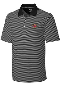 Maryland Terrapins Cutter and Buck Trevor Stripe Polo Shirt - Black