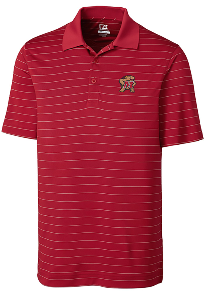 Cutter and Buck Maryland Terrapins Mens Red Franklin Stripe Short Sleeve Polo - Image 1