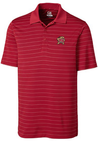 Maryland Terrapins Cutter and Buck Franklin Stripe Polo Shirt - Red