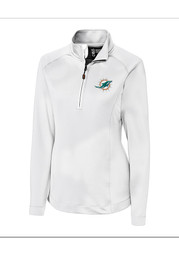 Cutter and Buck Miami Dolphins Womens White Jackson 1/4 Zip Pullover