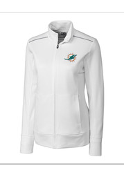Cutter and Buck Miami Dolphins Womens White Ridge Long Sleeve Full Zip Jacket