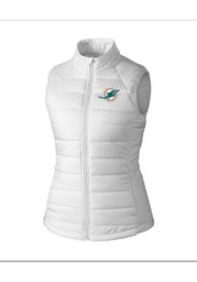 Cutter and Buck Miami Dolphins Womens White Post Alley Vest