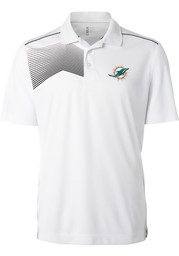 Cutter and Buck Miami Dolphins Mens White Glen Acres Short Sleeve Polo