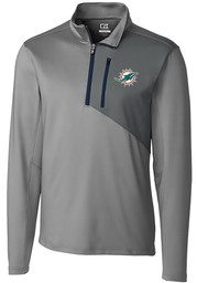 Cutter and Buck Miami Dolphins Mens Blue Shaw Hybrid Long Sleeve 1/4 Zip Pullover