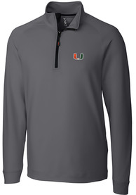 Miami Hurricanes Cutter and Buck Jackson 1/4 Zip Pullover - Grey