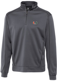Miami Hurricanes Cutter and Buck Edge 1/4 Zip Pullover - Grey
