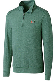 Miami Hurricanes Cutter and Buck Shoreline 1/4 Zip Pullover - Green