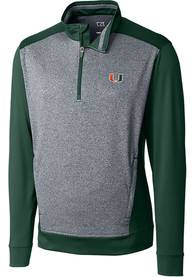 Miami Hurricanes Cutter and Buck Replay 1/4 Zip Pullover - Green