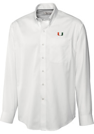 Miami Hurricanes Cutter and Buck Epic Dress Shirt - White