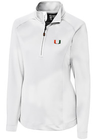 Miami Hurricanes Womens Cutter and Buck Jackson 1/4 Zip Pullover - White